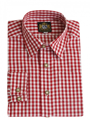 Hammerschmid Kinderhemd rot-weiß kariert, durchgeknöpft