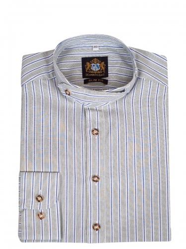 Hammerschmid Trachtenhemd hellgrün-blau-weiß gestreift, Pfoad, Stehkragen