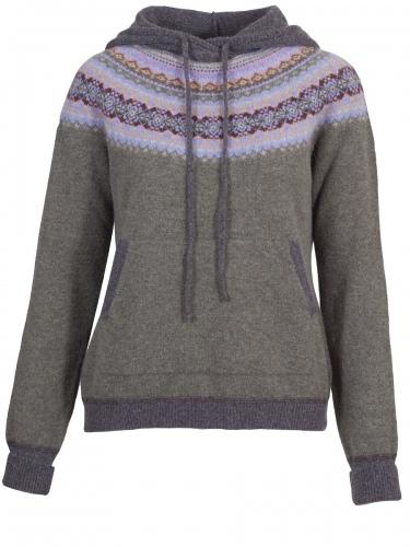 Eribè Knitwear Alpin Hoody, Pullover, landscape, grün-bunt, Kapuze