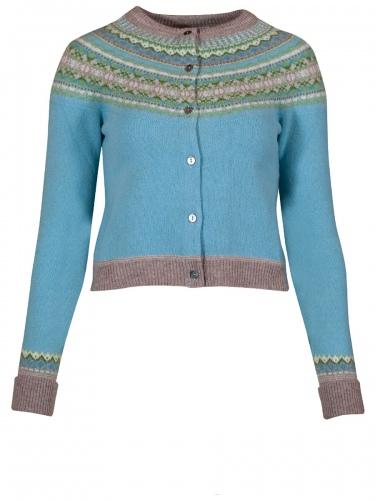 Eribè Knitwear Alpine Short Cardigan, Strickjacke, seaholly, hellblau-bunt