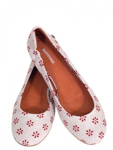 Bayerinas Damen-Ballerina Wallach, natur, rote Tupfen, Fußbett aus Leder