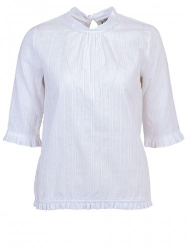 Berwin & Wolff 3/4-Arm Bluse, weiß, längsgestreift in sich gemustert, hochgeschlossen