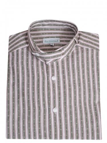 Waldorff Trachtenhemd, Pfoad, grün-beige gestreift, Stehkragen, Wäscheknöpfe