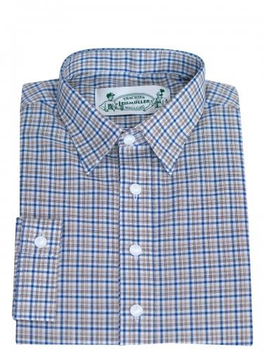 Arzberger Trachtenhemd, braun-blau, fein kariert, Liegekragen, Pfoad