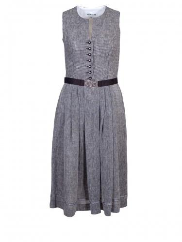 Hiebaum Leinenkleid grau, schwarz-weiß kariert, Gürtel mit Schließe