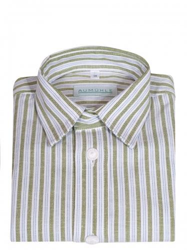 Waldorff Kinderhemd grün-weiß gestreift, Liegekragen