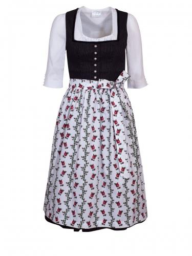 Wenger Ines Dirndl, schwarz, weiße Schürze mit Rosenranken, 70cm