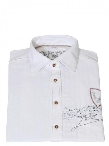 Orbis Herrenhemd, sportlich, weiß, grob, mit Druck