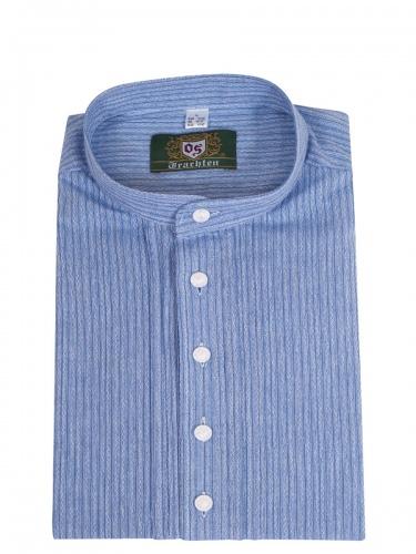 Orbis Trachtenhemd, Pfoad, kornblau, gemustert, Stehkragen, Slim Fit