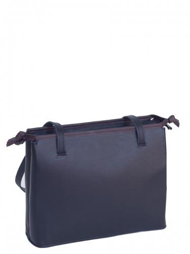Eigner Hänkeltasche, echt Leder, schwarz, glatt, baune Einfassung