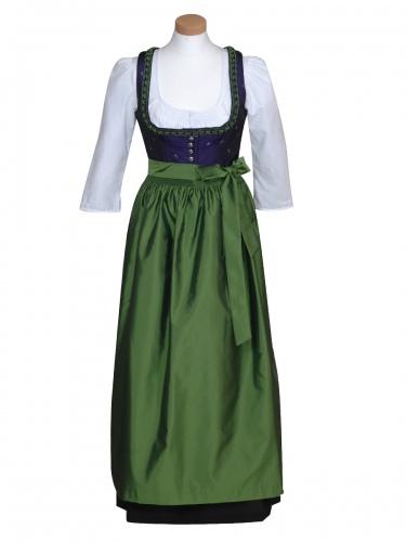 Wenger Fest-Dirndl Isolde, lila mit grüner Schürze