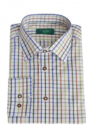 Gloriette Herrenhemd braun-blau-grün kariert, durchgeknöpft