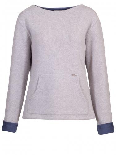Huber Oversize-Pullover Who, hellgrau, große Bauchtasche