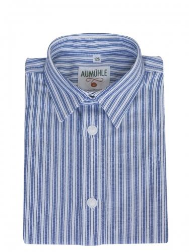 Kümmel Kinderhemd weiß-blau gestreift, Kentkragen, Pfoad