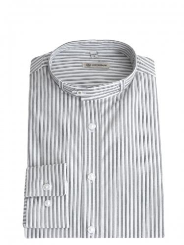 Gottseidank Trachtenhemd Lenz, weiß-grau gestreift, Stehkragen, Slim