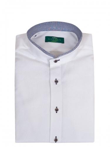 Gloriette Herrenhemd weiß, in sich strukturiert, Stehkragen, durchgeknöpft