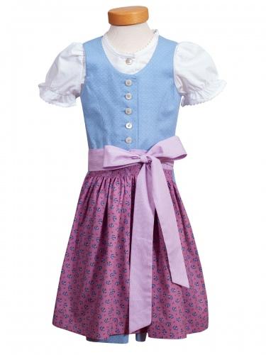 Hammerschmid Bergsee Kinder-Dirndl, hellblau-rosa, mit Bluse