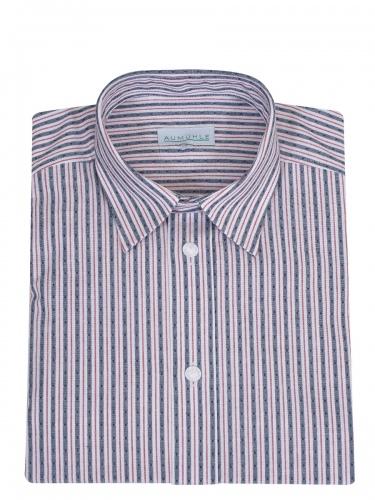 Waldorff Trachtenhemd, Pfoad, blau-rot-weiß gestreift, Liegekragen