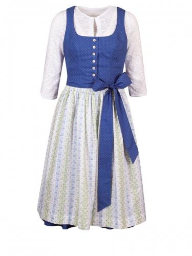 hausg'macht Baumwolldirndl Koflersee, blau, weiße Schürze mit Blumen, Stretch, 70cm