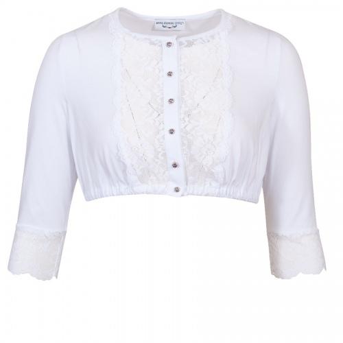 Anno Domini Design Dirndlbluse Romy, weiß, Shirtstoff, Spitze, hochgeschlossen
