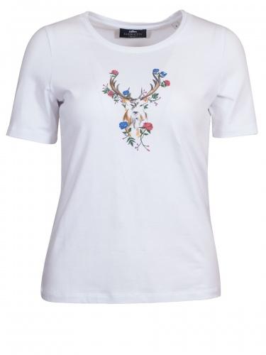 Gloriette T-Shirt weiß mit Hirsch- und Blumenmotiv, Stretch