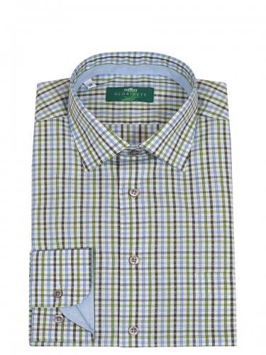 Gloriette Herrenhemd, hellblau-grün kariert, Liegekragen, durchgeknöpft