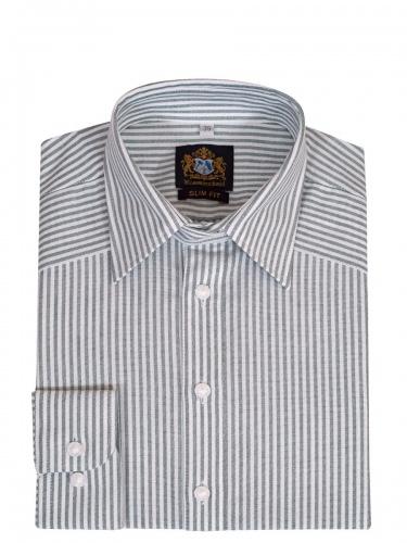 Hammerschmid Trachtenhemd grün-weiß gestreift, Pfoad, Liegekragen