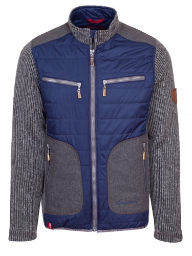 Moser Outdoorjacke Mitsch, marineblaue Steppjacke, graue Strickarme