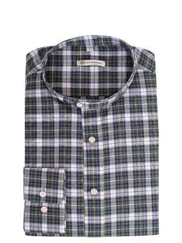 Gottseidank Trachtenhemd Lenz, grün-weiß-blau kariert, Stehkragen, Slim