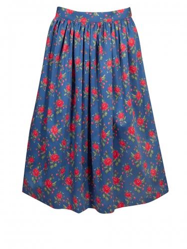Anno Domini Schürze Katharine, dunkelblau, Rosendruck, Schließe, 70cm