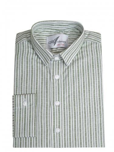 Arzberger Baumwollhemd, grün-weiß, gestreift, Pfoad, Liegekragen, Slim Line