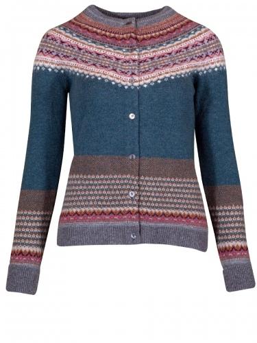 Eribè Knitwear Alpine Cardigan, Strickjacke, lugano, blau-weinrot