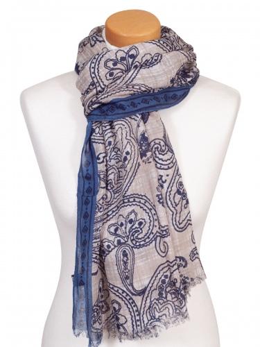 Moser Schal Bionda, luftig, Paisleymuster, blau-beige