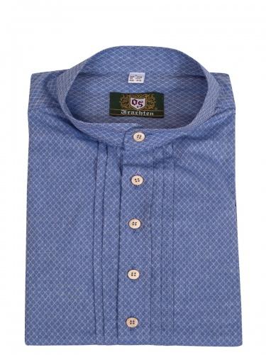 Orbis Trachtenhemd, Pfoad, jeansblau, Slim Fit, Stehkragen