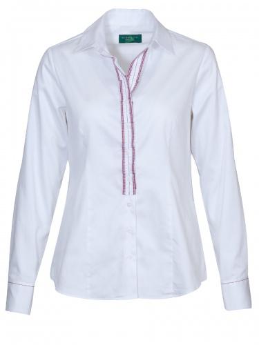 Gloriette Langarmbluse weiß, Baumwolle, rote-weiß karierte Borte