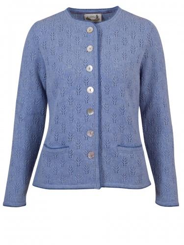 Astrifa Edelsee Strickjacke, polarblau, blaue Einfassung, Perlmuttknöpfe