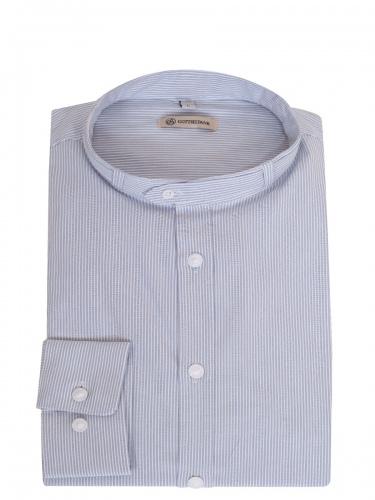 Gottseidank Trachtenhemd Lenz, hellblau gestreift, Stehkragen, Slim