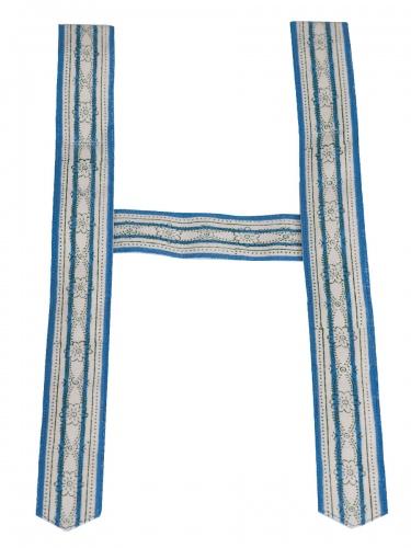 Träger Handdruck in beige-blau, 6 cm breit, ohne Zacken