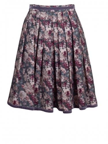 Anno Domini Damenrock Rosanna, Blumendruck, Vintage, grau-bunt, Samtband
