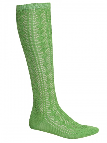 Steiner Trachten-Kniestrumpf grasgrün, Lochmuster