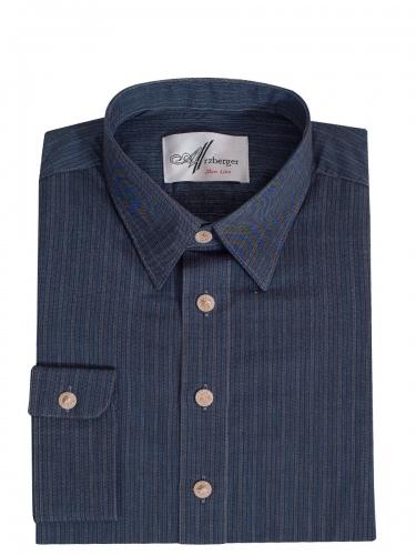Arzberger Baumwollhemd, blau-hellbraun, gestreift, Pfoad, Liegekragen, Slim line