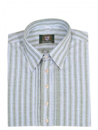 Orbis Trachtenhemd, Pfoad, grün-blau-weiß, gestreift, Liegekragen, Pfoad