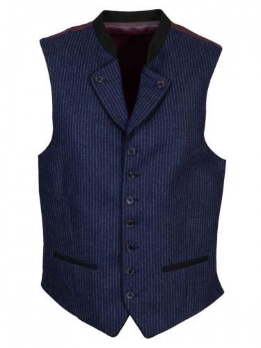 Viererspitz Herrenweste Korbinian, jeans-grau gestreift, hochwertig, Trachtenseide