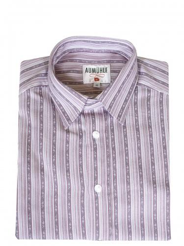 Waldorff Trachtenhemd, Pfoad, grau-weiß gestreift, Liegekragen, Wäscheknöpfe