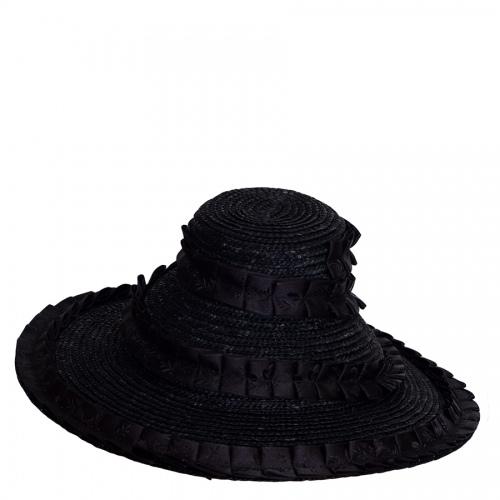 Lembert Strohhut Kissing schwarz, schwarzes Hutband