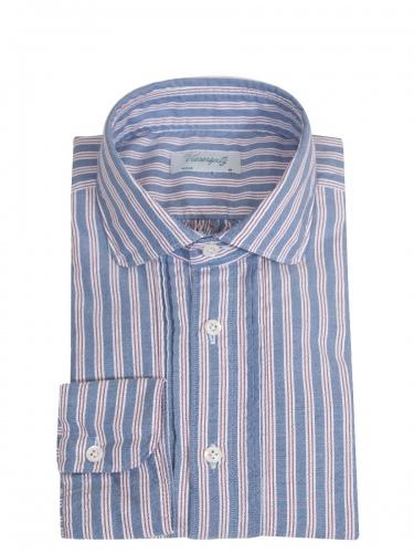 Viererspitz Herrenhemd Christoph, blau-rot, gestreift, hochwertig verarbeitet
