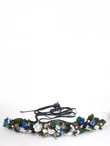 Anno Domini Design Blumengürtel blau mit Silbertalern