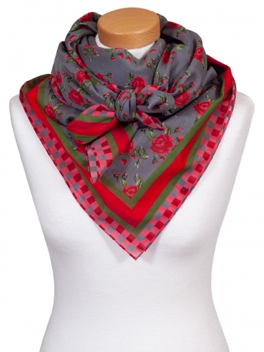 Anno Domini Design Blumentuch, schlammgrau mit rot-grünen Rosen, Karomuster