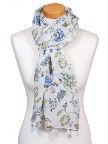 Hammerschmid Schal, luftig, blau-grün, Blumenmuster, Quasten