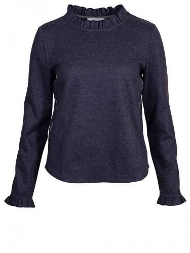 Von & Zu Pullover, blau-grau, Rüschen